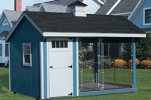 8 x 12 Quaker Kennel with Optional Cupola and Chain Link Fence