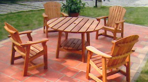 Picnic Table with Deck Chairs